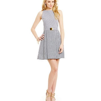 MICHAEL Michael Kors Belted Gingham Fit-and-Flare Dress | Dillards