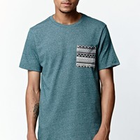 On The Byas Finnian Ethnic Pocket Crew T-Shirt - Mens Tee - Green