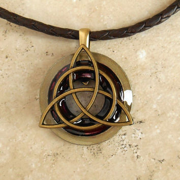 Triquetra Necklace: Wine - Mens Jewelry - Trinity Knot - Celtic Jewelry - Cord Necklace - Fathers Day - Boyfriend Gift - Mens Necklace