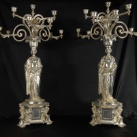 Canonbury - Pair 2.5 ft English Victorian Silverplate Maiden Candelabras