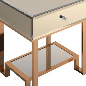 Akiko Mirrored 1-Drawer End Table by INSPIRE Q | Overstock.com Shopping - The Best Deals on Coffee, Sofa & End Tables