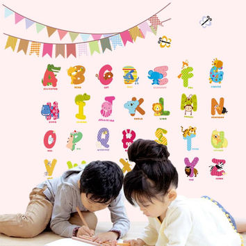 Learn reading cartoon children's room school Classroom background decorative wall stickers puzzle home decor english alphabet