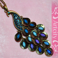 elegant vintage style peacock necklace Crystals by ArtCity2011