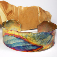 Copper Cuff Bracelet, A Rustic Hammered and Forged Copper Cuff with a Colorful Heat Patina Landscape - Santa Fe