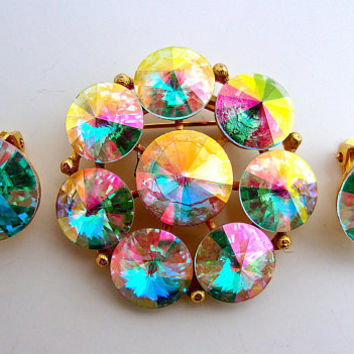 WEISS Rivoli Rainbow Brooch Earring Set Rainbow Colors Gold Plated Vintage