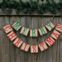 Burlap Christmas Banner  Merry Christmas Banner  Christmas Mantle Decor  Red And Green Christmas Banner  Rustic Christmas  Prim Christmas