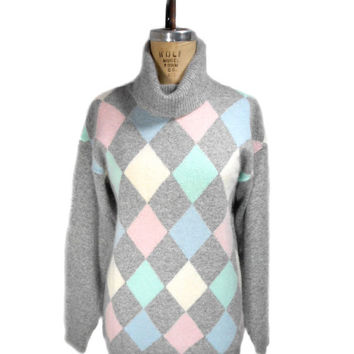 1980s Neiman Marcus Argyle Turtleneck Sweater / Prep Preppy Country Club /  Pastels / Womens Vintage Sweater / Size Large
