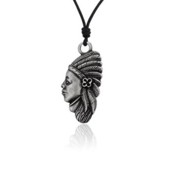 Unique Native American Indian Head Silver Pewter Charm Necklace Pendant Jewelry With Cotton Cord