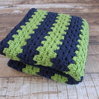 Ready To Ship Navy Lime Green Toddler Baby Blanket Afghan Crib Blanket Keepsake Heirloom Baby Shower Gift Photo Prop