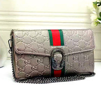 Gucci Women Leather Metal Chain Crossbody Shoulder Bag Satchel G-LLBPFSH
