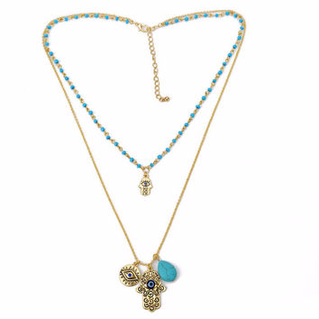 Charms Blue Evil Eye Hamsa H  Necklace Vintage Bead Turquoise Necklaces Pendants Women Fine Jewelry SM6