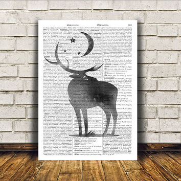 Deer poster Wall decor Animal art Dictionary print RTA199
