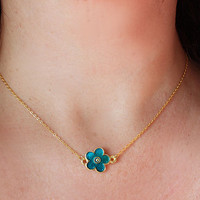 NEW COLLECTION Evil eye necklace enamel teal flower necklace gold plated chain dainty necklace istanbul turkey best friend birthday gift