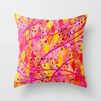 INTO THE FALL - Beautiful Nature Autumn Floral Raspberry Pink Cherry Abstract Watercolor Painting Throw Pillow by EbiEmporium