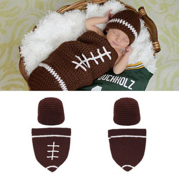 Newborn Baby Football Photography Photo Props Brown Cocoon With Beanie Hat Sets S20