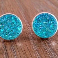 Druzy earrings- ab turquoise drusy silver tone stud druzy earrings