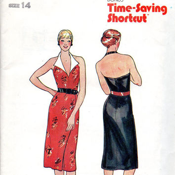 Retro 80s Sexy Halter Wiggle Cocktail Party Dress Slim Fit Butterick 6567 Sewing Pattern Lapel Collar Uncut FF Bust 36