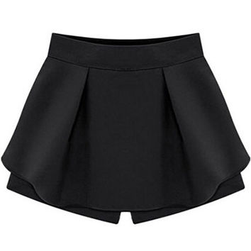 Black High Waist Ruffle Skorts