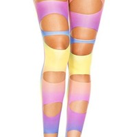 Rainbow Cutout Spandex Footless Leggings