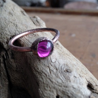 Tiny Vintage Purple Glass Orb Ring - Stacking Ring - Size 8