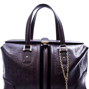 Gucci Monogram Leather Boston Bag