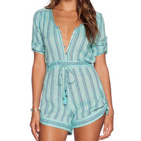 Spell & The Gypsy Collective Island Boho Romper in Blue