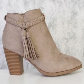 Clay Braided Fringe Pointy Toe Single Sole Chunky High Heel Booties Faux Suede
