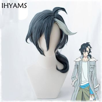 Sirius the Jaeger Yuliy Grey Blue Mix White Curly Styled Synthetic Cosplay Wig 40cm Anime Costume Party Wigs + Wig Cap