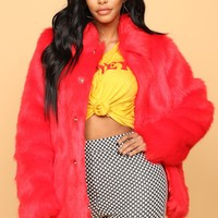 Firecracker Faux Fur Jacket - Red