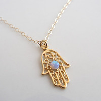 Gold necklace, Gold Hamsa necklace, Gold hand necklace, Gold filled Hamsa necklace, Delicate necklace, Gold hand with opal, Hand pendant.