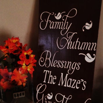 Thanksgiving Subway art, Thanksgiving Decoration, ,Thanksgiving , Personalized sign. Wood sign, Give thanks, Personalized Sign, Autmn