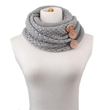 Knitted Infinity Scarf for Women Knitting Neck Wrap Buttons Loop Scarves and Shawls Fashion Winter Thick Warm Ring Scarf YG121