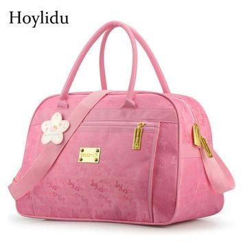 Cartoon Cute Hello Kitty Women Travel Bag Waterproof Oxford Luggage Duffel Bags For Girls Handbags Pink Crossbody Shoulder Bags