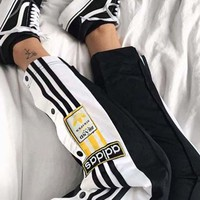 Gotopfashion Adidas Originals Adibreak Poppe Pants Snap Track Bottom Women Men Sides Open Button Trousers B-AA-XDD Black