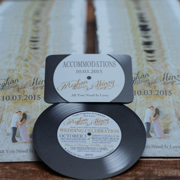 Vinyl Record Invitations - Music Themed Wedding invites  | Custom & Handmade in Canada by ---- www.empireinvites.ca ---