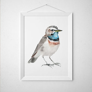 Cute nursery art Bird watercolor Bluethroat print ACW143