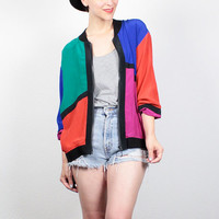 Vintage 80s Jacket Rainbow Black Color Block Silk Windbreaker Jacket 1980s Mondrian Print Bomber Jacket New Wave Mod Track Jacket M Medium L