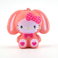 1PCS Cute Pink Squishy Hello Kitty Phone Straps Cartoon Cat Girl Doll Kids Toy Collections