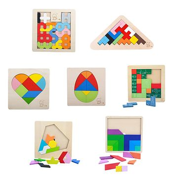 Montessori Wooden Tangram 3D Jigsaw Puzzles Toy Kids Brain Teaser Puzzle Toys Tetris Game Educational Baby Jigsaw Board Toy Gift