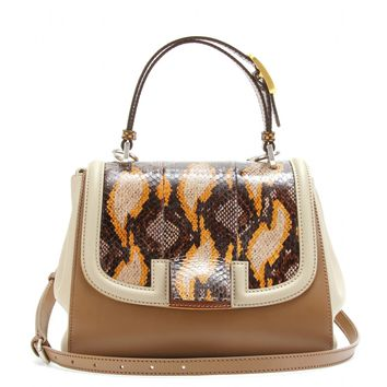 fendi - silvana bag with snakeskin insert