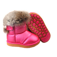 Children's Real Rabbit Fur Ankle Snow Boots EU21-30 Kids Shoes Girls Boots Warm Plush Waterproof Winter Soft