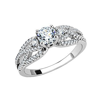Seraphina - Women's Brass Rhodium Plated Clear CZ Ring