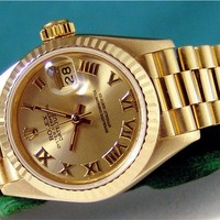 Rolex Lady Datejust President Champagne Roman Yellow Gold 69178 - WATCH CHEST
