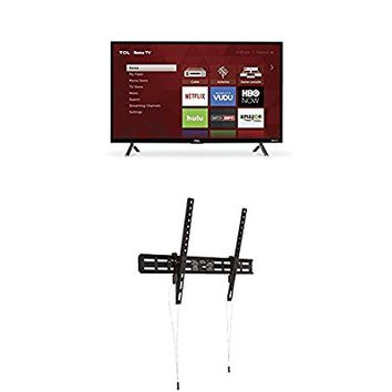 TCL 32S305 32-Inch 720p Roku Smart LED TV (2017 Model) and AmazonBasics Heavy-Duty Tilting TV Wall Mount for 37-inch to 80-inch TVs