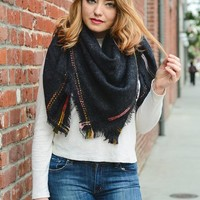 Be Original Blanket Scarf, Charcoal