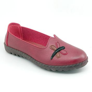 Women's Red Soft Faux Leather Shoe