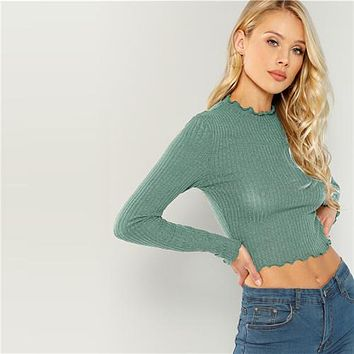 COLROVIE Solid Lettuce Trim Solid Sexy Knit Crop Top For Women Basic Shirt