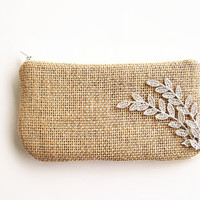 Burlap wristlet burlap clutch bridal clutch bridesmaid clutch-leaf lace.