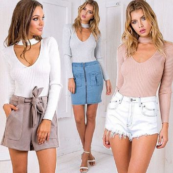 New winter trend of women's long-sleeved tight trim waist Halter V-neck sweater bottoming shirt female