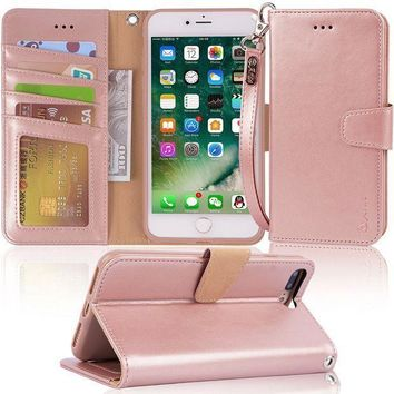 Iphone 7 Plus Case Iphone 8 Plus Case Arae Pu Leather Wallet Case With Kickstand And Flip Cover For Iphone 7 Plus (2016) / Iphone 8 Plus (2017)   Rose Gold